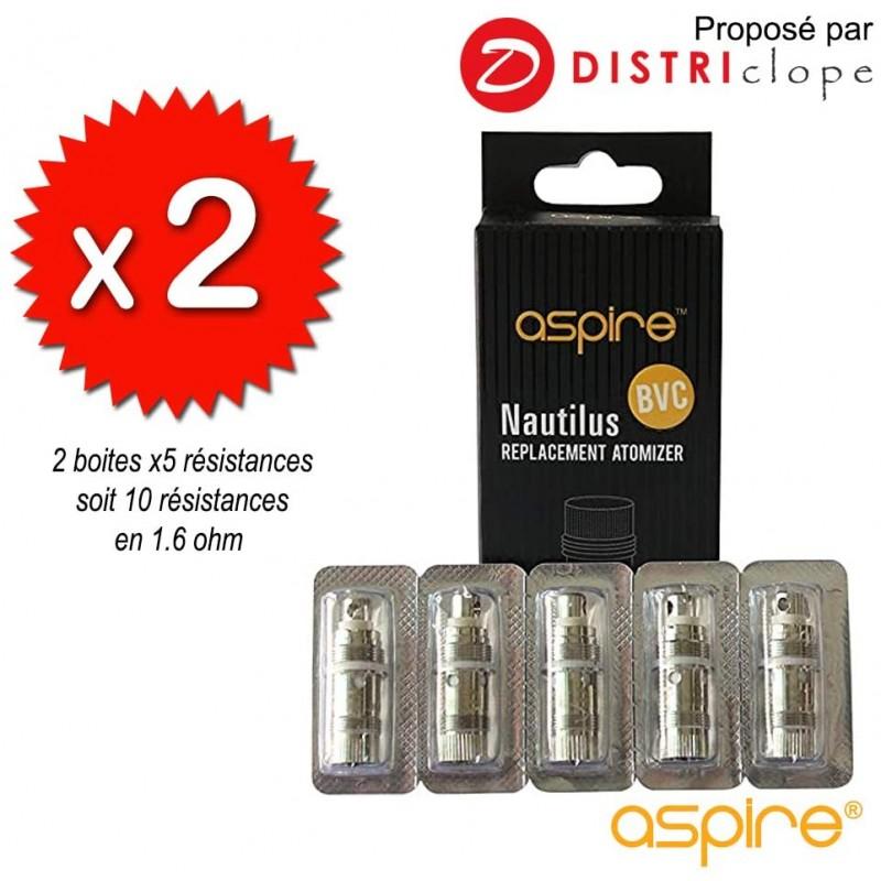 X2 boites de 5 résistances Nautilus BVC 1.6ohm - Aspire