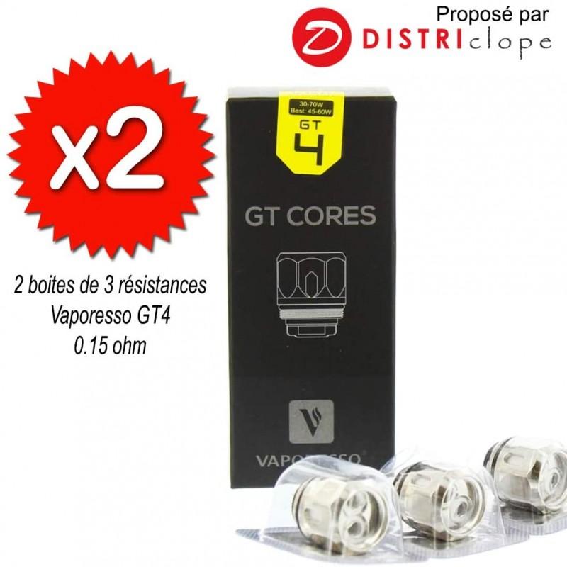 X2 boites de 3 résistances GT4 0.15ohm - Vaporesso