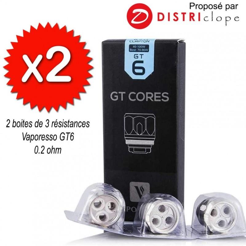 X2 boites de 3 résistances GT6 0.2ohm - Vaporesso