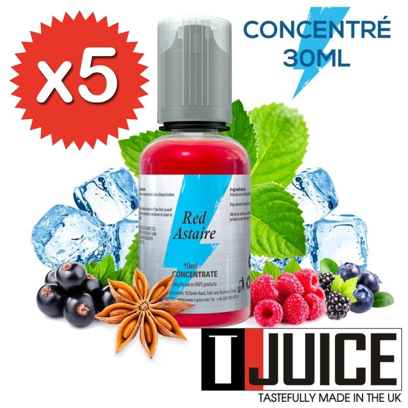 Lot de 5 concentrés Red Astaire 30ml - T-Juice