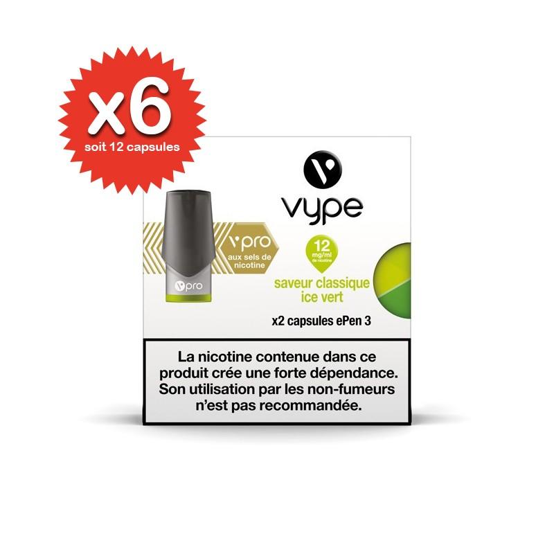 Lot de 6x2 capsules Classique Ice Vert vPro ePen3 - Vype