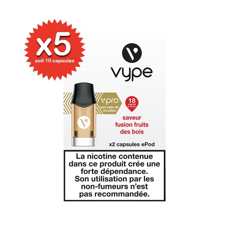 Lot de 5x2 capsules Fusion Fruits des bois ePod vPro - Vype