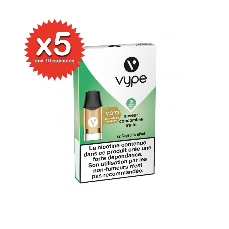 Lot de 5x2 capsules Concombre fruité ePod vPro 18mg - Vype