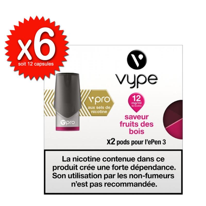 Lot de 6x2 capsules Fruits des bois vPro ePen3 - Vype