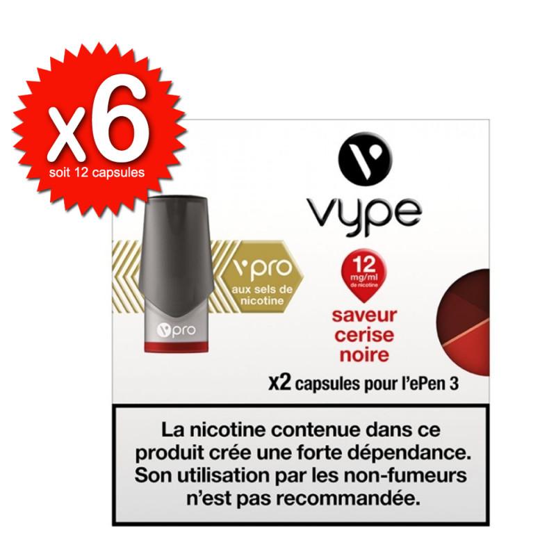 Lot de 6x2 capsules Cerise Noire vPro ePen3 - Vype