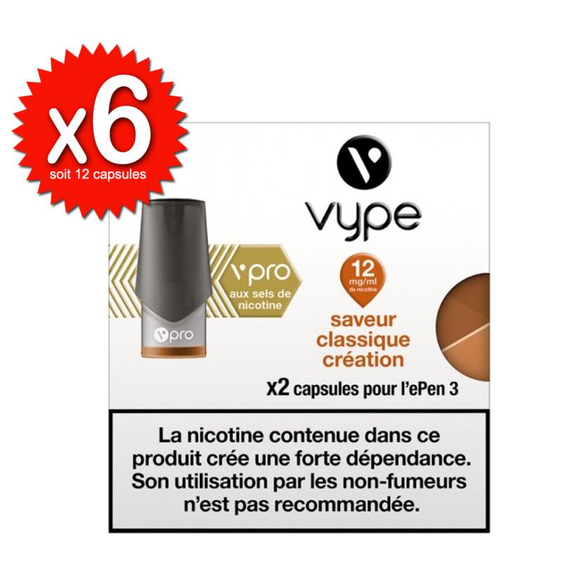 Lot de 6x2 capsules Classique Création vPro ePen3 - Vype